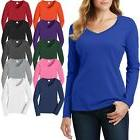 Ladies Plus Size V-Neck T-Shirt Long Sleeve Soft Cotton Wome
