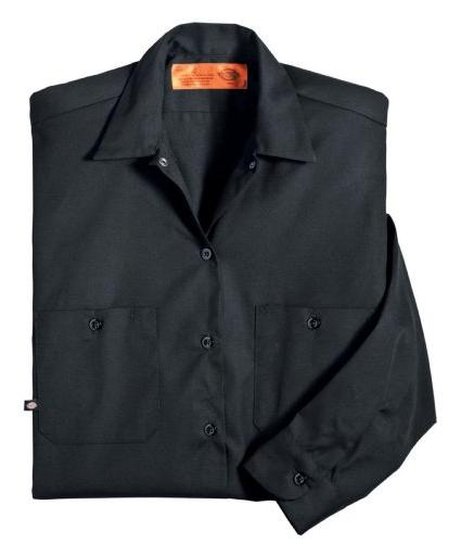 Dickies LL535BK 5XL Polyester/ Cotton Men's Long Shirt, Black