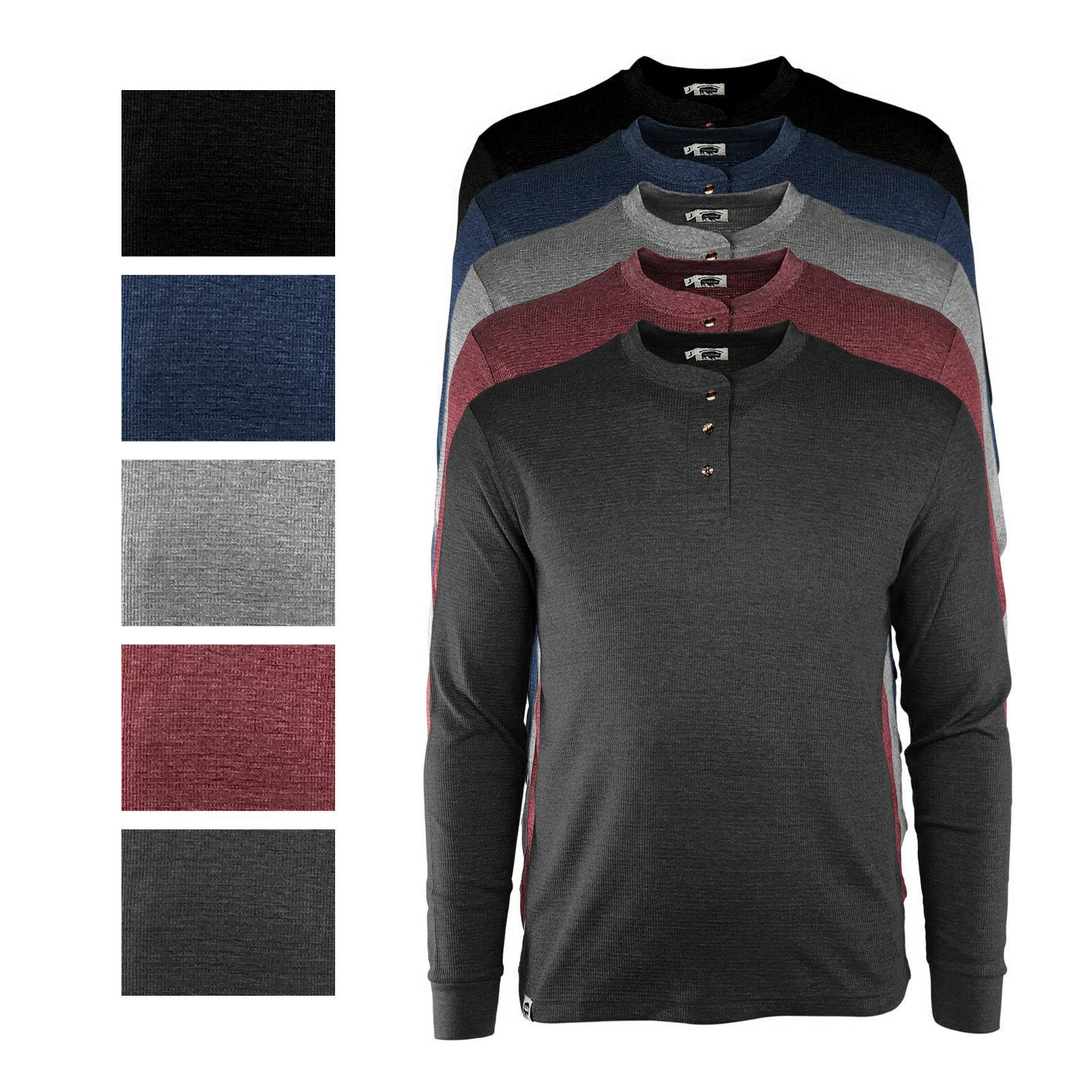 Buffalo Outdoors Long Sleeve 3 Button Textured Henley Shirt