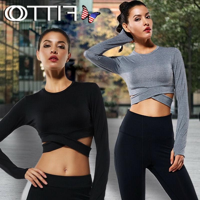 Long Sleeve Crop Tops for Women - Activewear Workout Yoga Gy