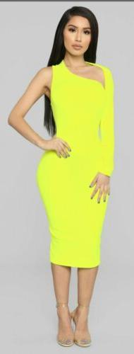 Long Sleeve One Shoulder Dress Size L Neon Yellow