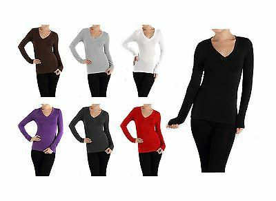 Long Sleeve Womens V Neck Basic Solid Color Long Sleeve Top