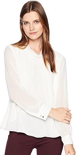 Calvin Klein Women's Long Sleeve Woven Pullover Top Cream La