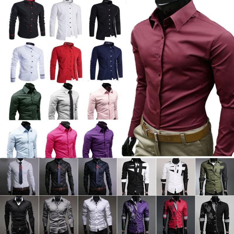 Men's Button Down Slim Fit Long Sleeve Dress Shirt Business