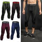 Men's Compression Tights Cropped Athletic Workout Running 3/