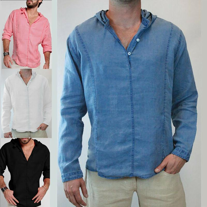 Men's Hooded Button T-Shirt Casual Long Sleeve Slim Fit Line