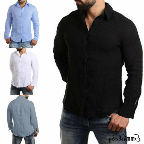 Men's Long Sleeve Shirt Summer Loose Casual V-Neck Tops M-3XL