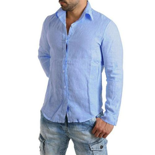 Men's Long Sleeve Shirt Loose Casual Shirts Tops M-3XL