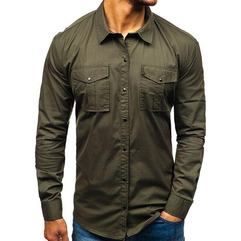 Men's Sleeve Cargo Casual Work Shirt Military Army Shirts Tops
