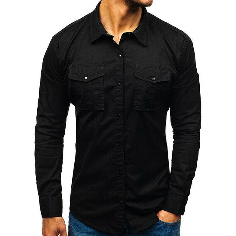 Men's Casual Work Shirt Army Pocket Tops