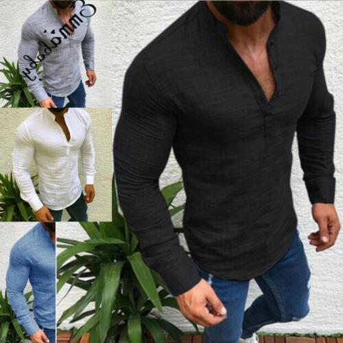 Men's Slim Neck Long Muscle Tee T-shirt Henley