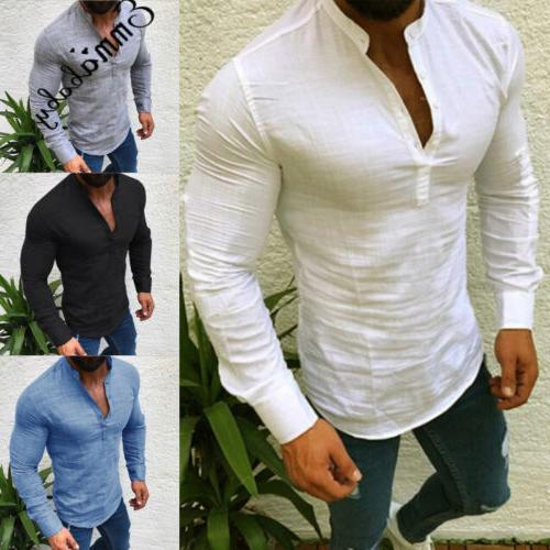 Men's Fit Neck Long Sleeve Muscle Tee Henley