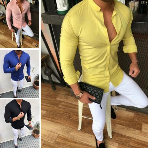 Men's Slim Fit Neck Long Tees Shirts Tops