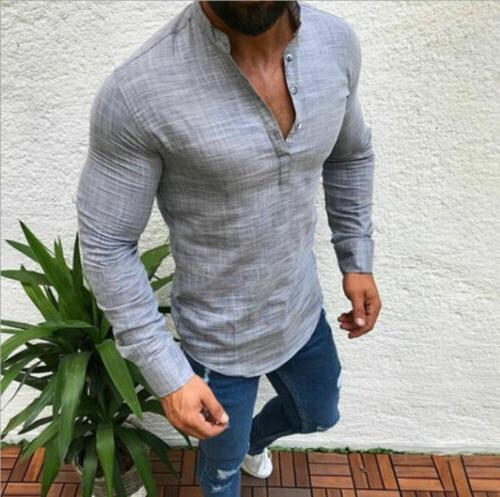 Mens Casual Long Sleeve Shirt Fit Muscle Tee Blouse