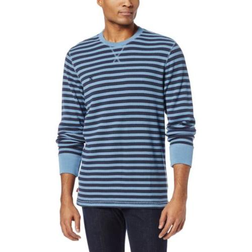 men s thermal stripe waffle crew neck