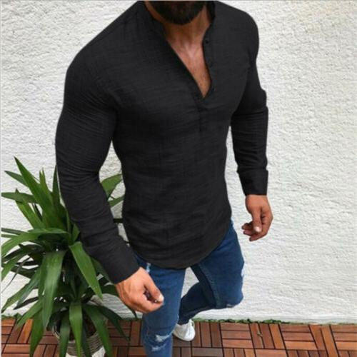 Mens Long Sleeve Fit Muscle Tee Blouse Tops