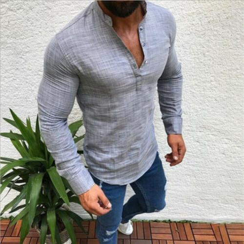 Mens Casual Long Fit Muscle Blouse