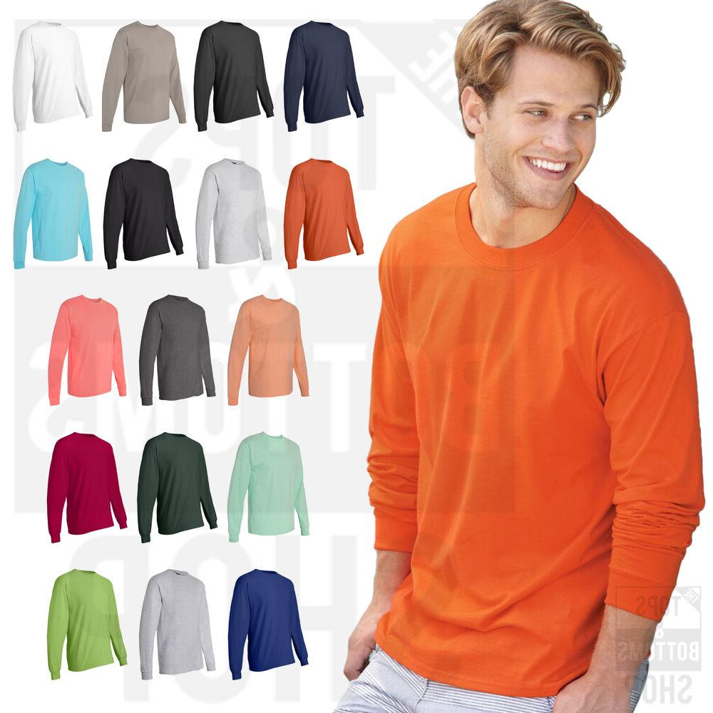 Hanes Mens 100% Cotton Long Sleeve Beefy-T Crew Neck T-Shirt