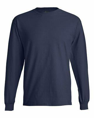 Hanes Mens Blank Beefy-T Long Sleeve Shirt 5186 up 3XL