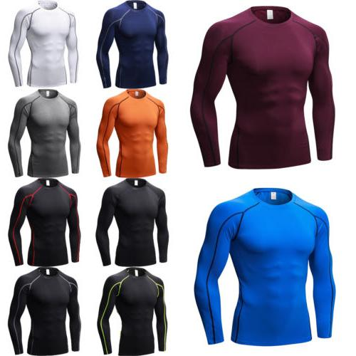 Mens Compression T-Shirt Long Sleeve Gym Base Layer Under To