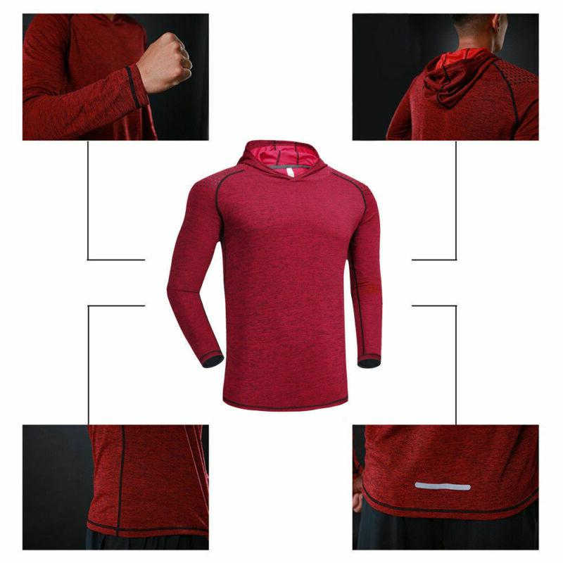 Mens Long Shirts Muscle Tops Hoodie T-shirt NEW