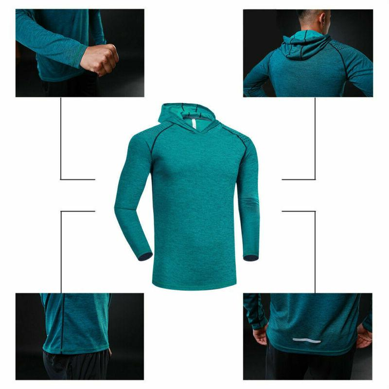 Mens Gym Long Shirts Muscle Hoodie Basic NEW
