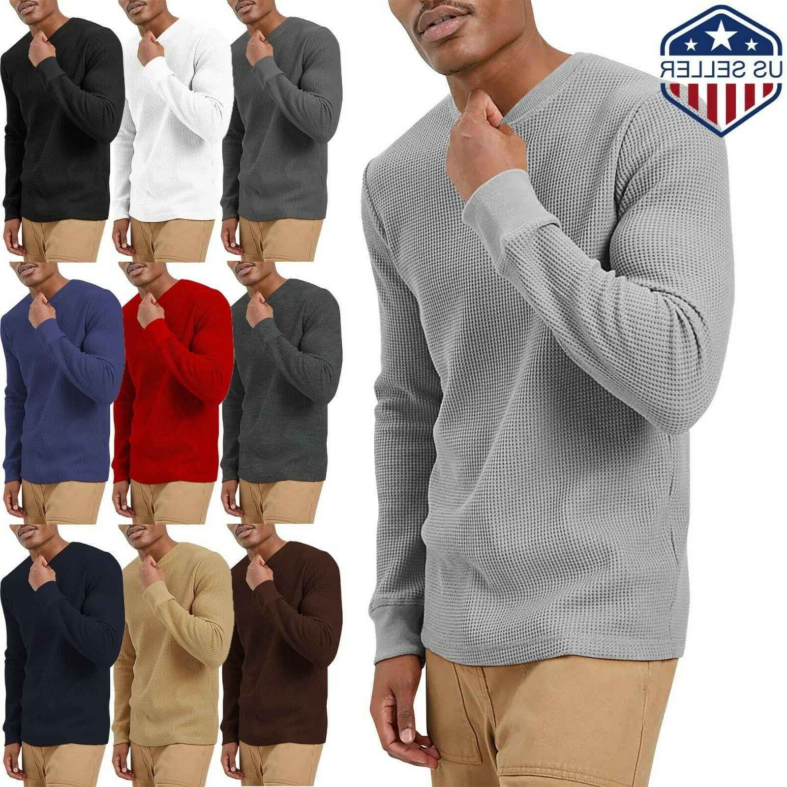 Mens Heavy T SHIRTS Long Sleeve Waffle Tee THERMAL Cotton Sw