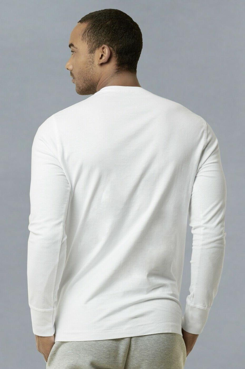 Mens Shirts Cotton Down Crew Neck Casual S M