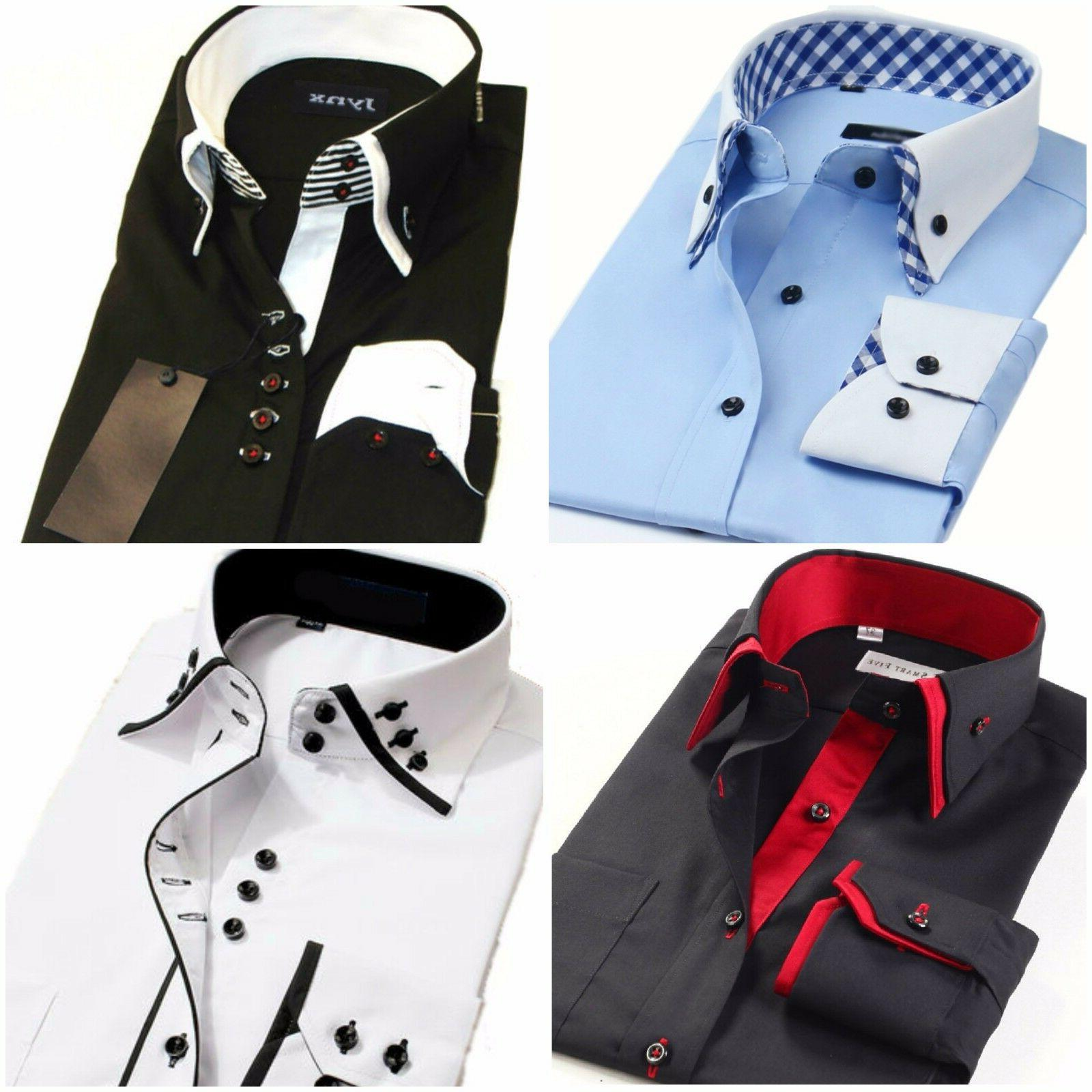 Mens Italian Shirts Casual Double Collar Slim Fit Button Dow