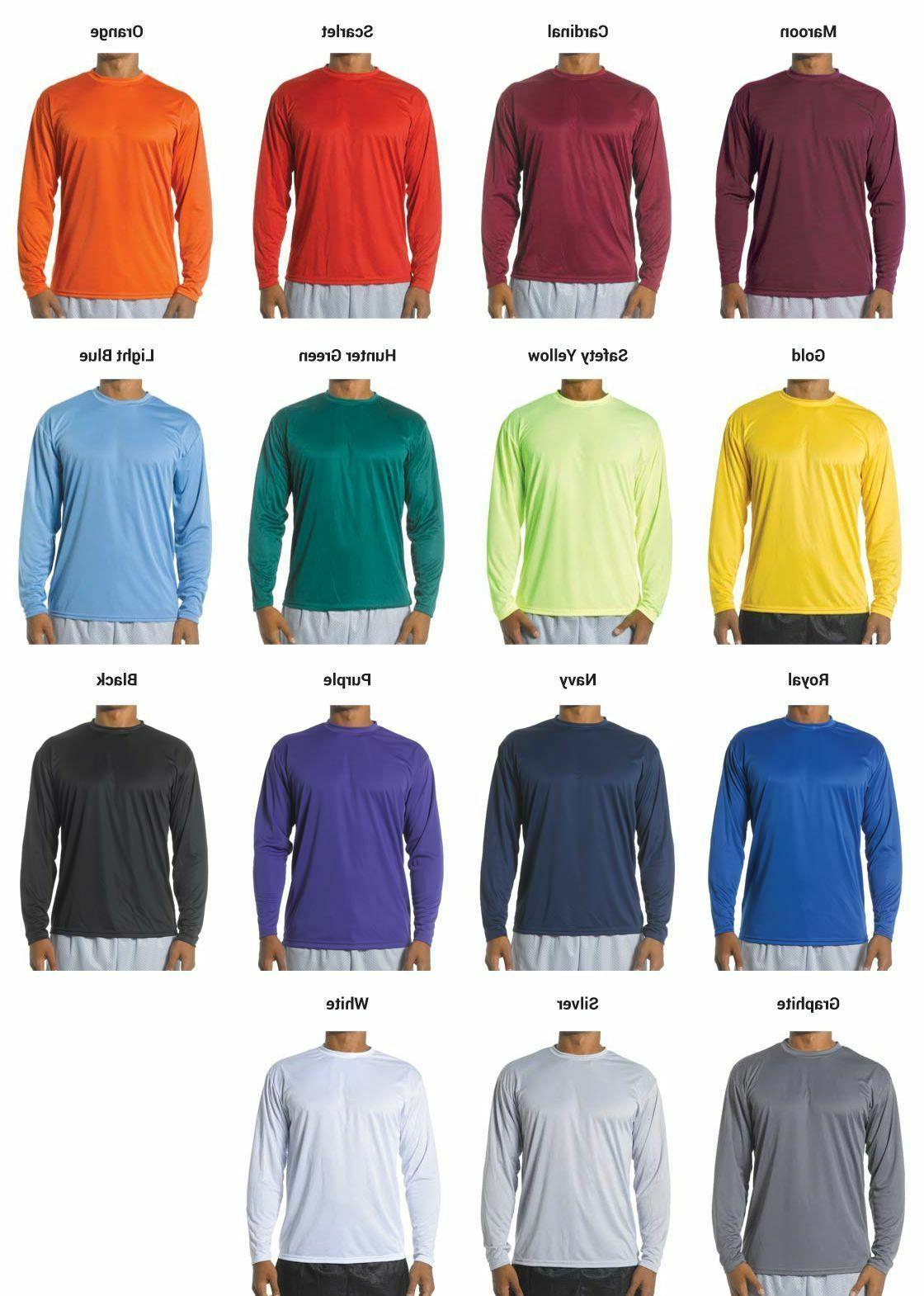 A4 Mens Long Sleeve Cooling Performance Crew Neck T Shirt S-