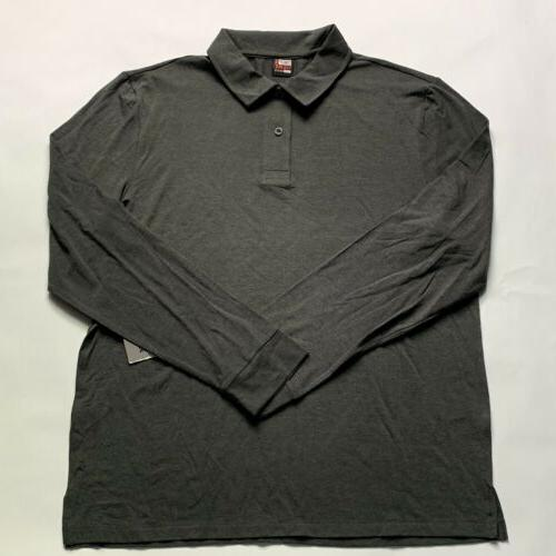 mens perfomance long sleeve grey polo shirt