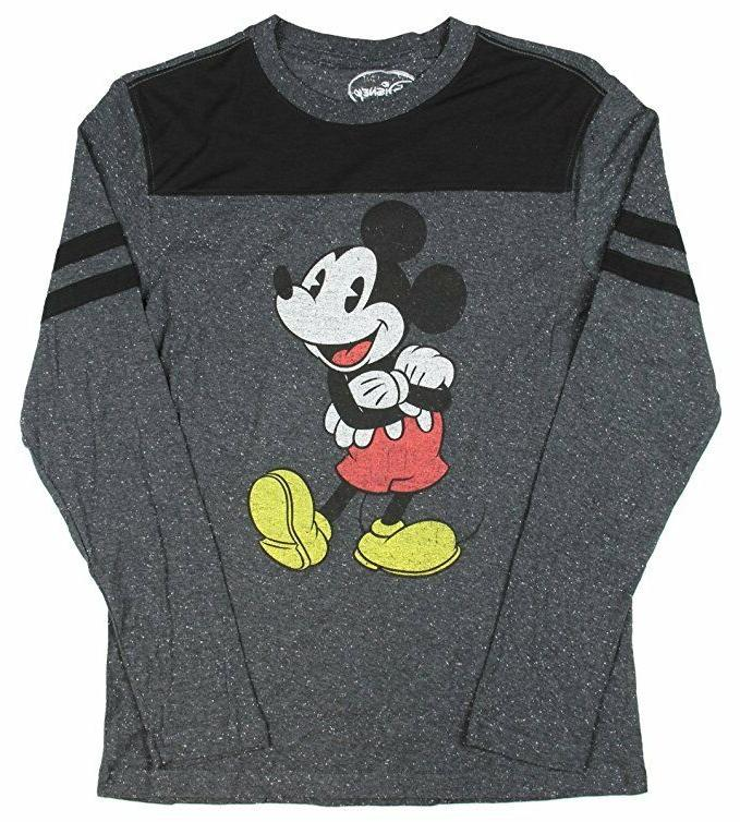 Disney Mickey Mouse Cheerful Retro Charcoal Speckle Long Sle