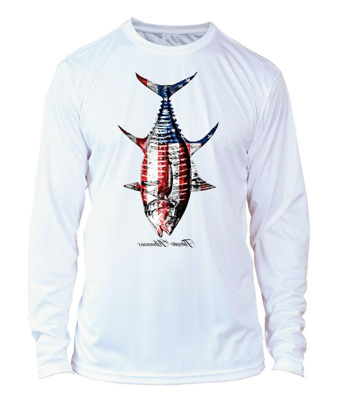 Microfiber Long Sleeve UPF 50 Yellowfin Tuna Fishing Shirt -