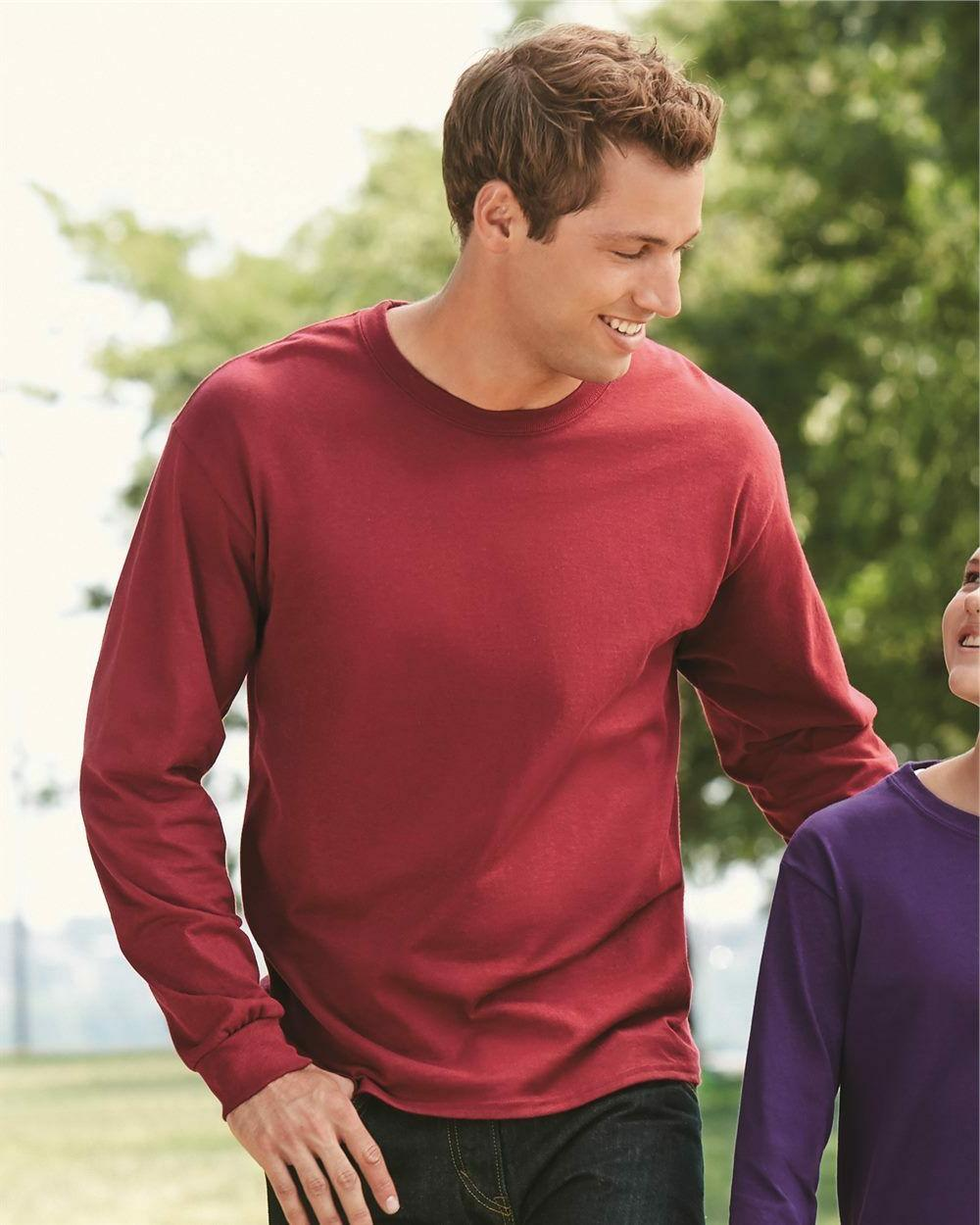 NEW Gildan Ultra Cotton Men's Crewneck Long Sleeve Plain Tee