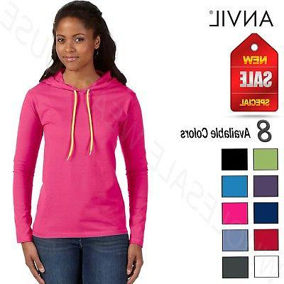 NEW Anvil Women's Lightweight Long Sleeve Hooded T-Shirt M-8