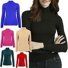 New Womens Ribbed Cotton Polo Roll Turtle Neck Long Sleeve F