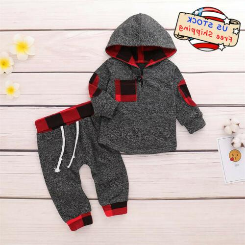 Newborn Baby Boy Plaid Long Sleeve Hoodie Tops+Pants Casual