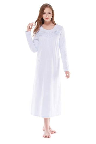 Keyocean Nightgown for Women 100% Cotton Long Sleeves Long N