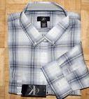 NWT Calvin Klein 100% Cotton White Gray Plaid Long Sleeve Bu