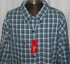 NWT MEN'S IZOD BLUE WHITE CHECKERED LONG SLEEVE BUTTON UP SH