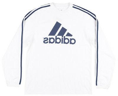 Adidas Performance Logo Long Sleeve Shirt Mens White Navy