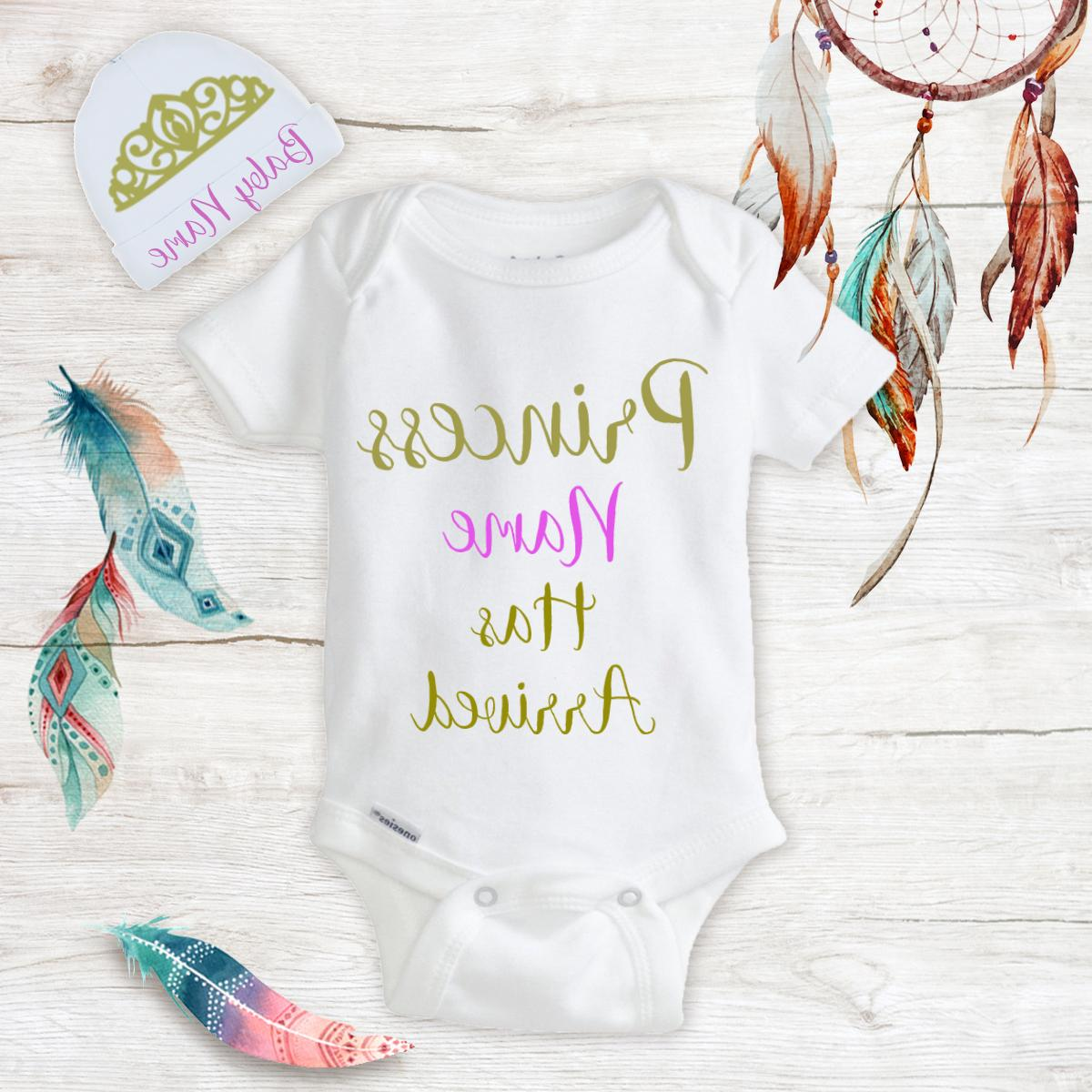 Personalized Name Princess Baby Girl Onesies & Hat Baby Show
