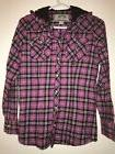 LEGENDARY WHITETAILS Pink Hooded Flannel WOMENS S Pearl Snap