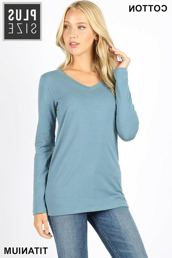 Plus Size V Neck TShirt Long Sleeve Cotton Spandex Top