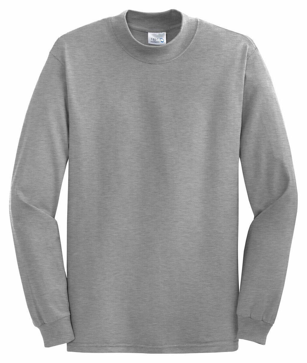 Port & Company by Hanes Mens New 100% Cotton Long Sleeve Moc