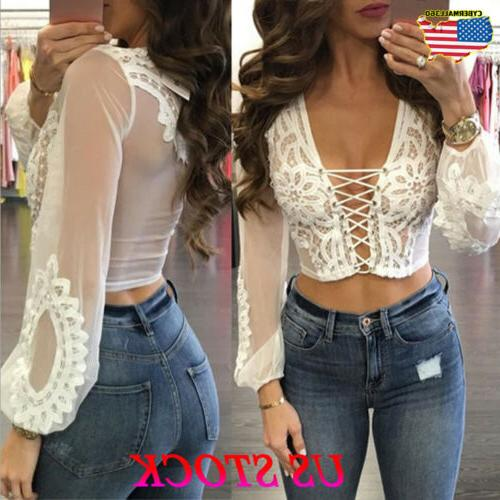 Sexy Women's See through Lace Mesh Sheer Long Sleeve Crop To