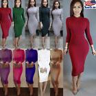 Sexy Womens Long Sleeve Bodycon Evening Party Cocktail Stret