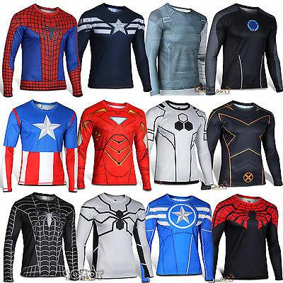 Superhero Compression Men Long Sleeve T-Shirt Bicycle Runnin