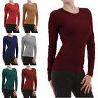 THERMAL CREW NECK Long Sleeve Basic Top Womens T-Shirt Solid