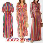 US Boho Women's Rainbow Long Maxi Dress Split Cocktail Party